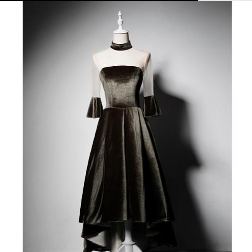 SO1030 セミオーダー 黒のベルベットイブニングドレス