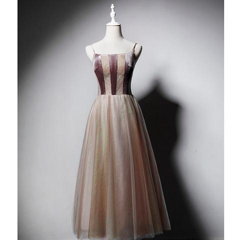 SO1033 セミオーダー 茶色のスリップロングドレス