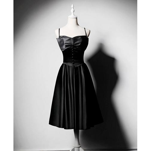 SO1034 セミオーダー 黒のサテン生地のミモレ丈ドレス