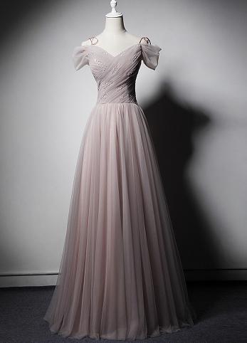 SO1035 セミオーダー ピンクのチュールロングドレス
