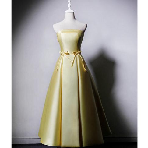 SO1036 セミオーダー レモン色のチューブトップ蝶結びドレス
