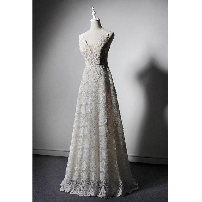 SO1037 セミオーダー 白のVネックレースロングドレス