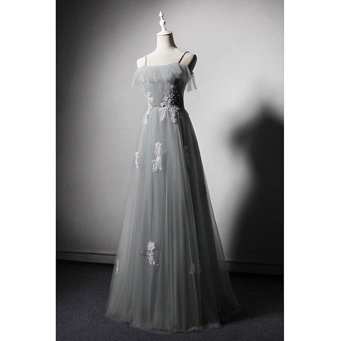 SO1038 セミオーダー グレーのチューブトップロングドレス