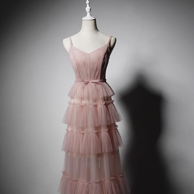 SO1039 セミオーダー ピンクのチュールロングドレス