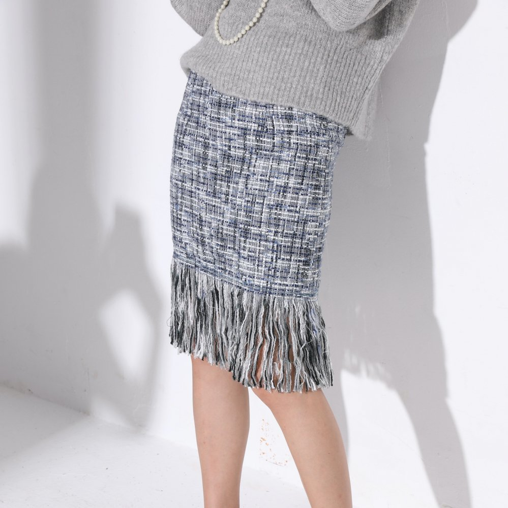 フリンジツイードスカート