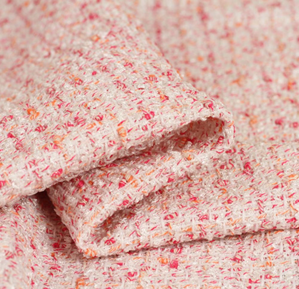 TW1357 ピンクとオレンジが散りばめた白地ツイード