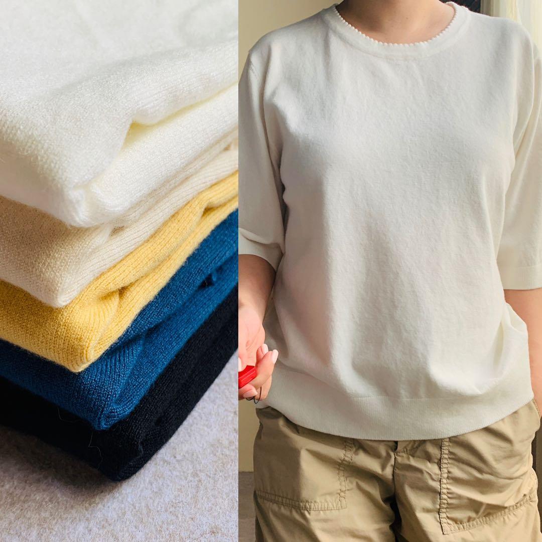 シルクの触感 100%モダールゆったり半袖ニット(5色入り)