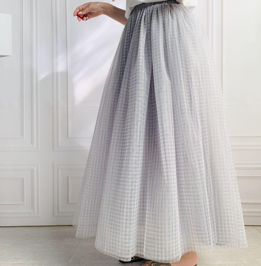 ギンガムチャック チュールスカート(16色)