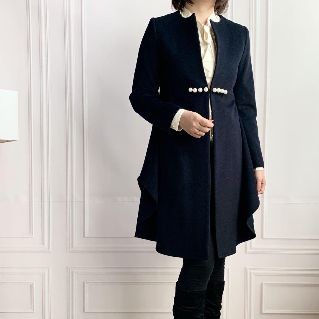 ZNCT051-2 パール付き フレア裾カシミヤコート
