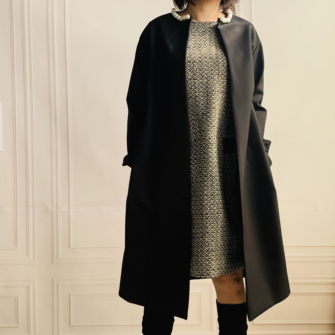 ヨウコチャン型 パール襟ゆったりコート(15色)
