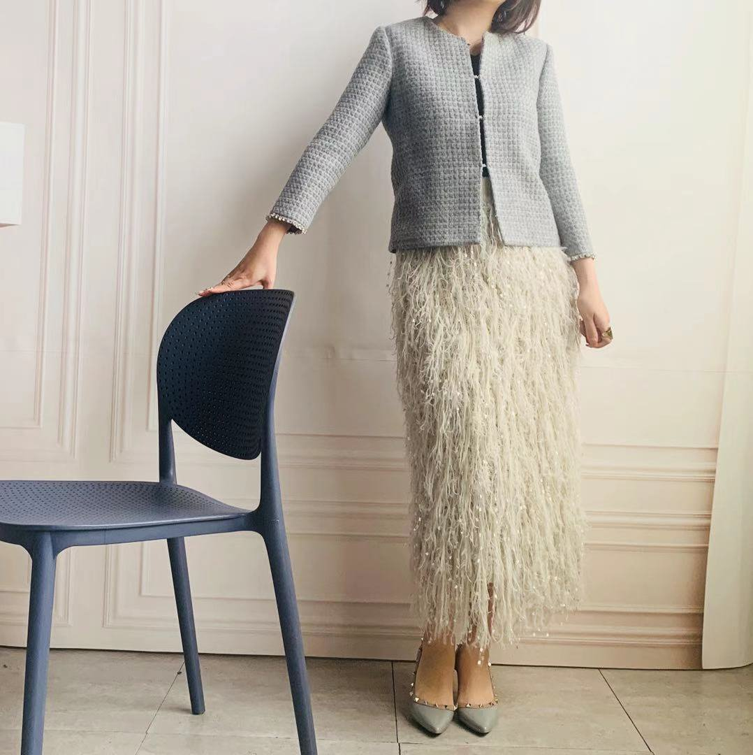 フリーサイズ ファーフリンジニットスカート(サイズ変更デザイン変更不可)