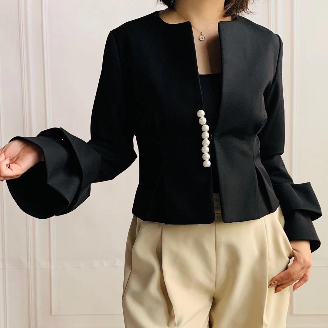 ZNCT046 フリル袖 パール付きジャケット(15色)