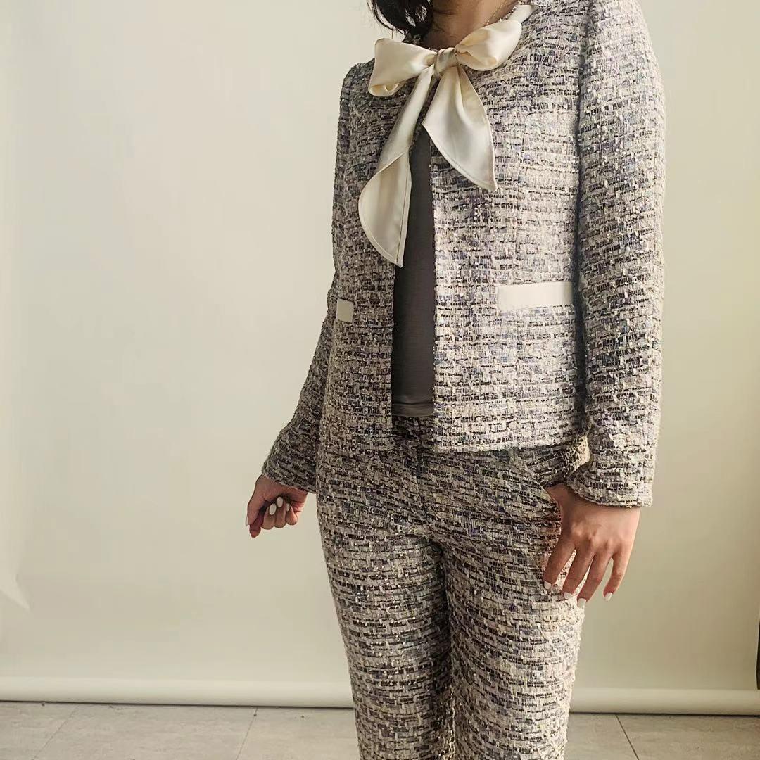 ZNCT016-4 スカーフ風飾りつきツイードジャケット(生地変更無料)