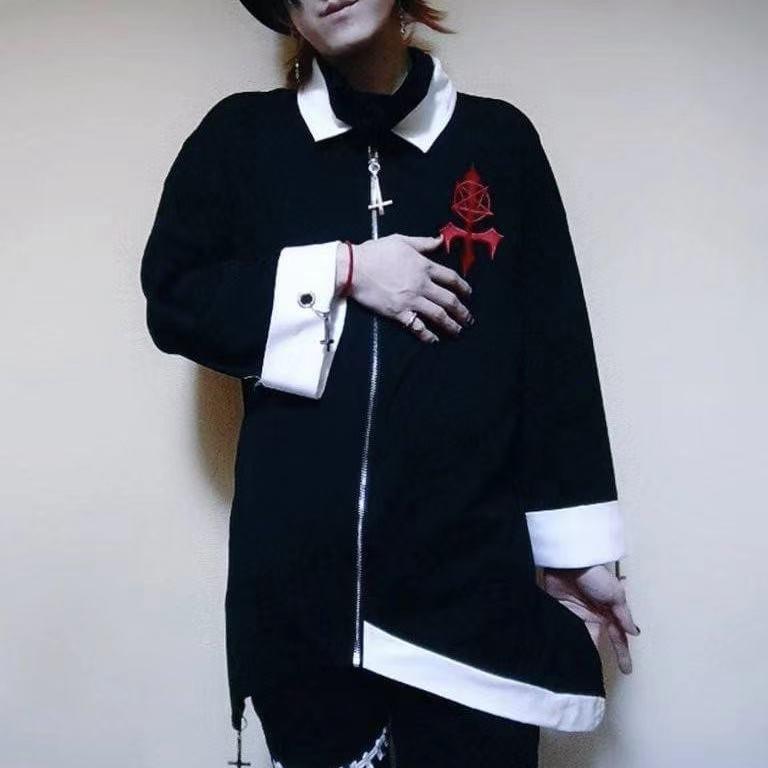 龍桜さまコラボ商品 不規則裾刺繍入りトップス 逆十字
