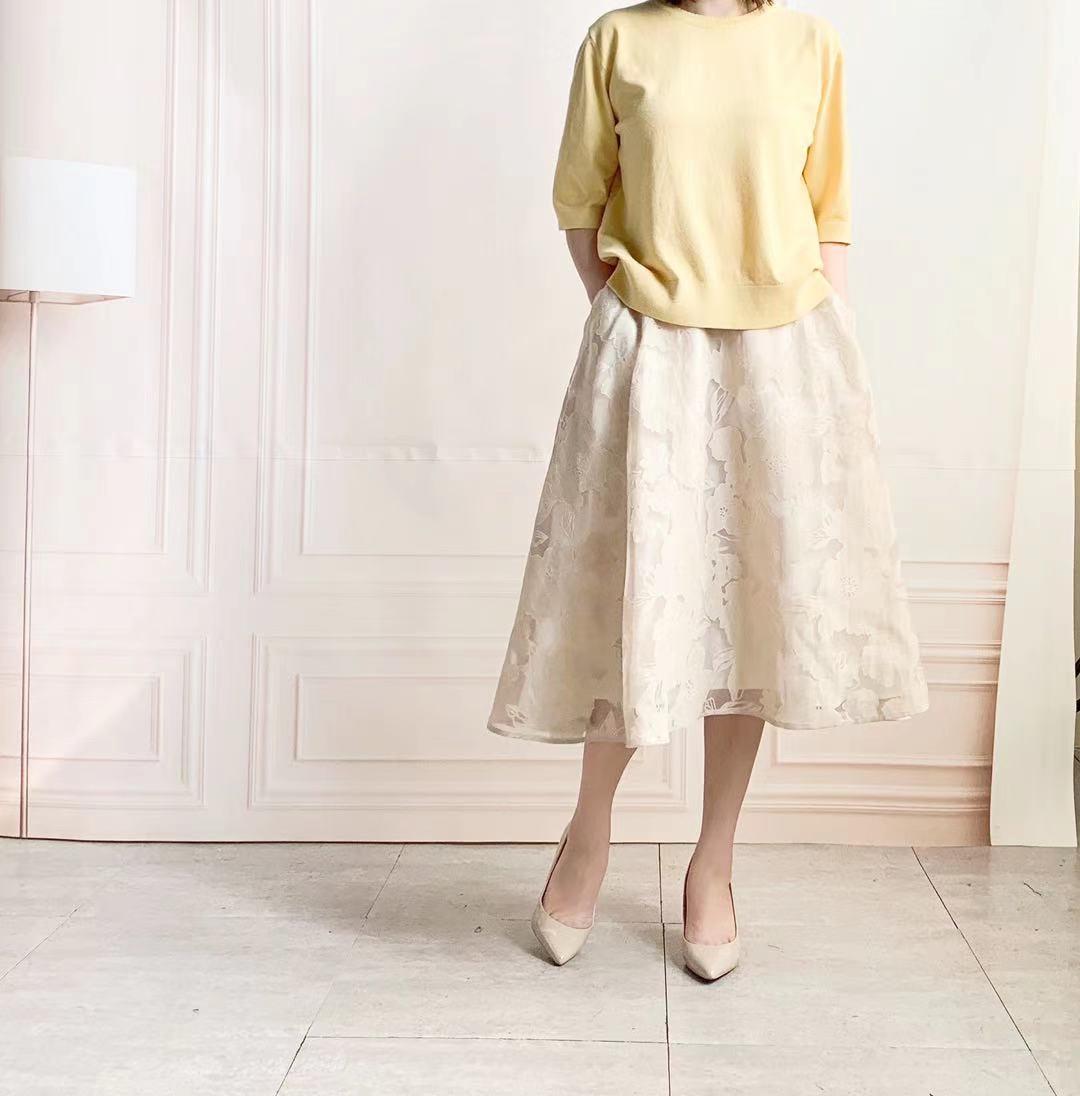 花柄オーガンジー フレア180度スカート