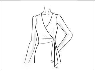 Vネック ラップドレス<br>- 袖と裾をデザイン画像から -