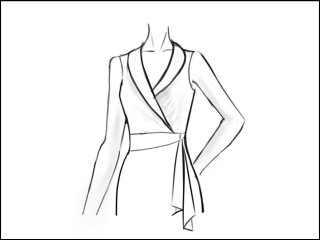 フラットカラー ラップドレス<br>- 袖と裾をデザイン画像から -
