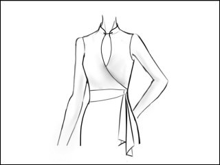 チャイナカラー ラップドレス<br>- 袖と裾をデザイン画像から -