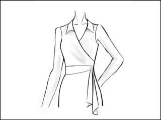 シャツカラー ラップドレス<br>- 袖と裾をデザイン画像から -