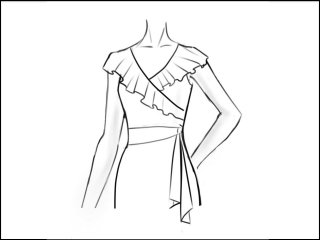 フリルカラー ラップドレス<br>- 袖と裾をデザイン画像から -