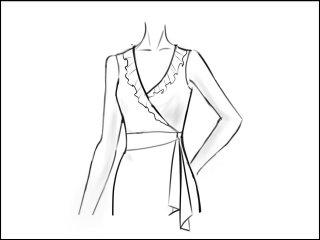 ギャザーフリルカラー ラップドレス<br>- 袖と裾をデザイン画像から -