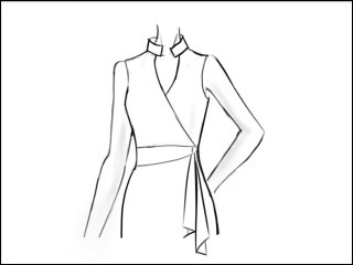 ライダーズカラー ラップドレス<br>- 袖と裾をデザイン画像から -