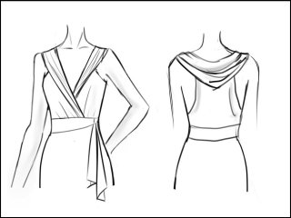 フード付き ラップドレス<br>- 袖と裾をデザイン画像から -