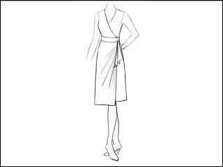 ストレート ラップドレス<br>- 襟と袖をデザイン画像から -