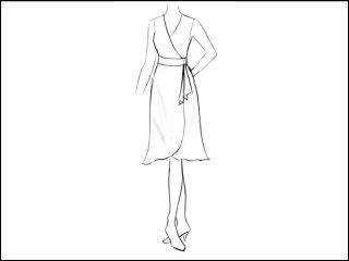 ラッパ裾 ラップドレス<br>- 襟と袖をデザイン画像から -