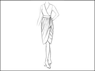 チュリップ裾 ラップドレス<br>- 襟と袖をデザイン画像から -
