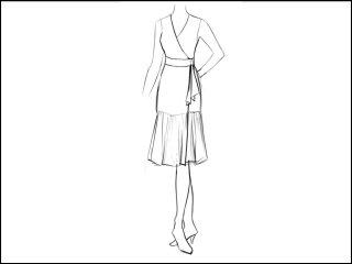 切替フレア ラップドレス<br>- 襟と袖をデザイン画像から -