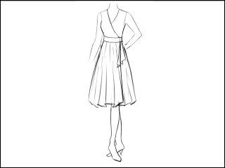 全円 ラップドレス<br>- 襟と袖をデザイン画像から -