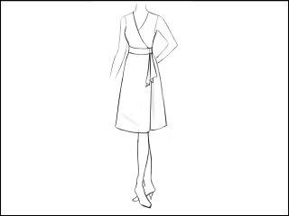 Aライン ラップドレス<br>- 襟と袖をデザイン画像から -