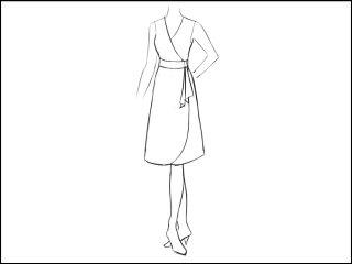 Aラインラウンド角 ラップドレス<br>- 襟と袖をデザイン画像から -