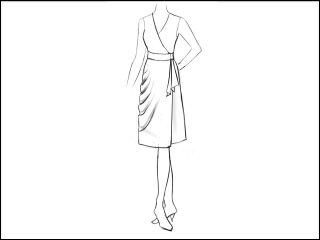 サイドドレープ ラップドレス<br>- 襟と袖をデザイン画像から -