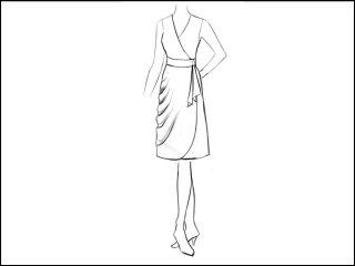 サイドドレープラウンド角 ラップドレス<br>- 襟と袖をデザイン画像から -