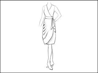 ダブルドレープ ラップドレス<br>- 襟と袖をデザイン画像から -