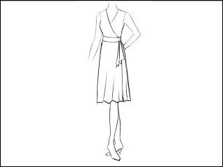 フレア ラップドレス<br>- 襟と袖をデザイン画像から -