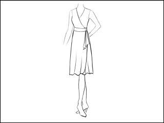 フレアラウンド角 ラップドレス<br>- 襟と袖をデザイン画像から -