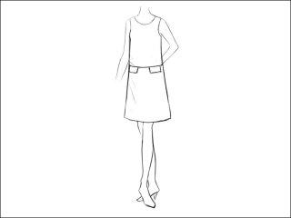 ポケット付き切替Aラインワンピース<br>- 襟と袖をデザイン画像から -