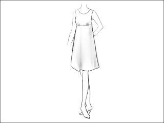 胸ギャザー切替Aラインワンピース<br>- 襟と袖をデザイン画像から -