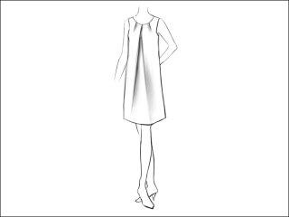センタータックAラインワンピース<br>- 襟と袖をデザイン画像から -