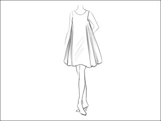 フレアAラインワンピース<br>- 襟と袖をデザイン画像から -