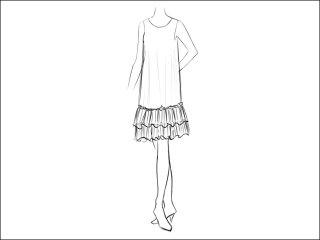 フリルAラインワンピース<br>- 襟と袖をデザイン画像から -