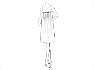 ギャザーフリルAラインワンピース<br>- 襟と袖をデザイン画像から -