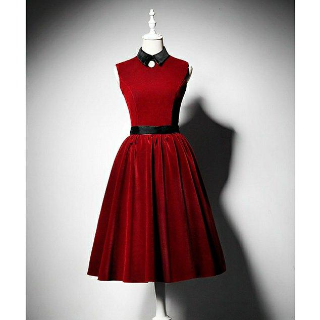 シャツ襟ノースリーブ ベルベットドレス