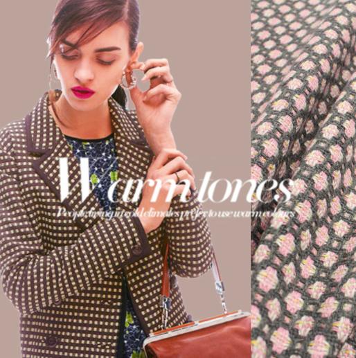 TW1057ピンクと白の編み花柄ツイード