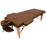 低反発折りたたみ木製マッサージべッド チョコレート L185×W70×H53-85cm