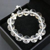 完全天然純粋な水晶 ヒマラヤ水晶15mm玉 腕サイズ17cm 箱プレゼント付き