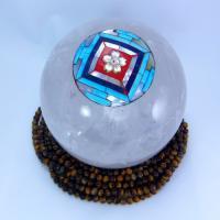 天然石 水晶丸玉(マンダラと桜コラボ)